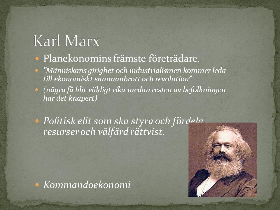 Karl Marx Planekonomins främste företrädare.