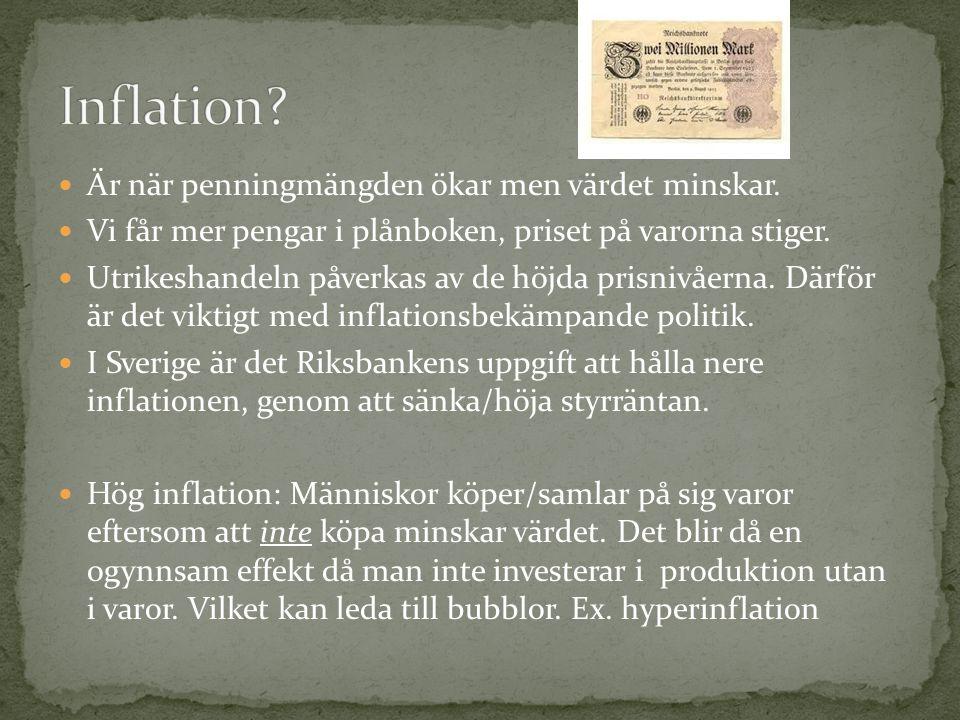 Inflation Är när penningmängden ökar men värdet minskar.
