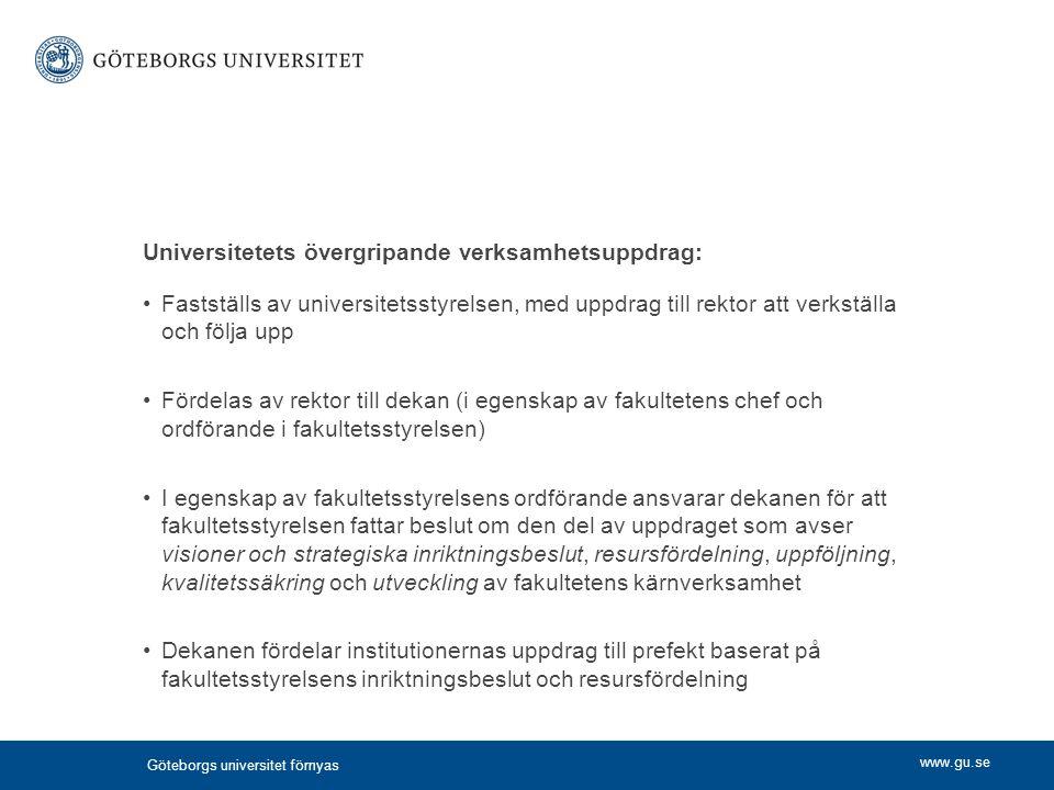 Universitetets övergripande verksamhetsuppdrag:
