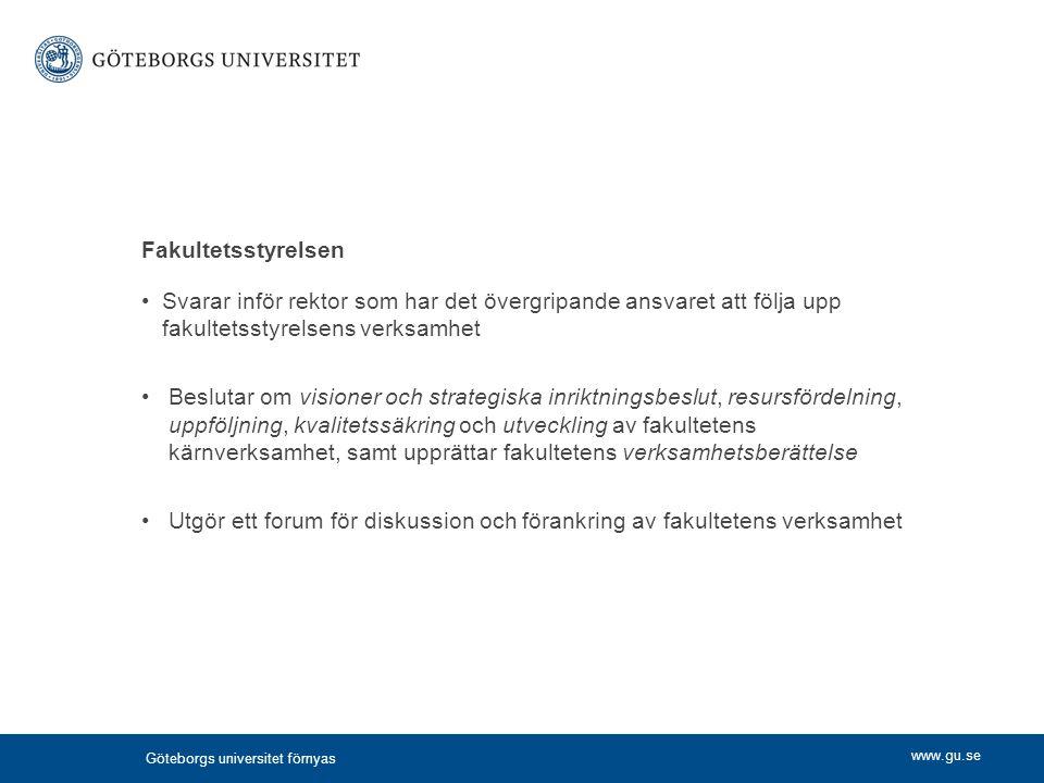 Fakultetsstyrelsen Svarar inför rektor som har det övergripande ansvaret att följa upp fakultetsstyrelsens verksamhet.