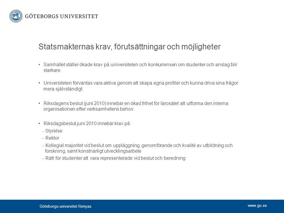 Statsmakternas krav, förutsättningar och möjligheter