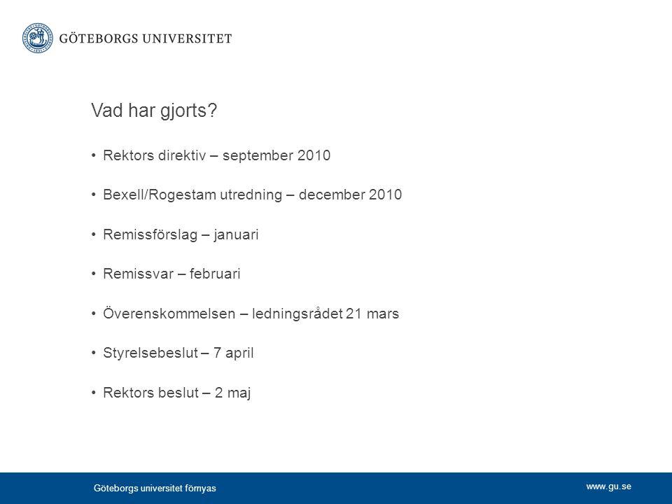 Vad har gjorts Rektors direktiv – september 2010