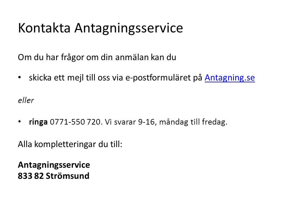 Kontakta Antagningsservice
