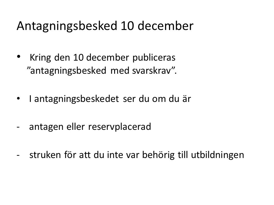 Antagningsbesked 10 december
