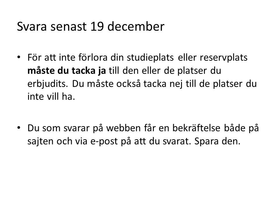 Svara senast 19 december