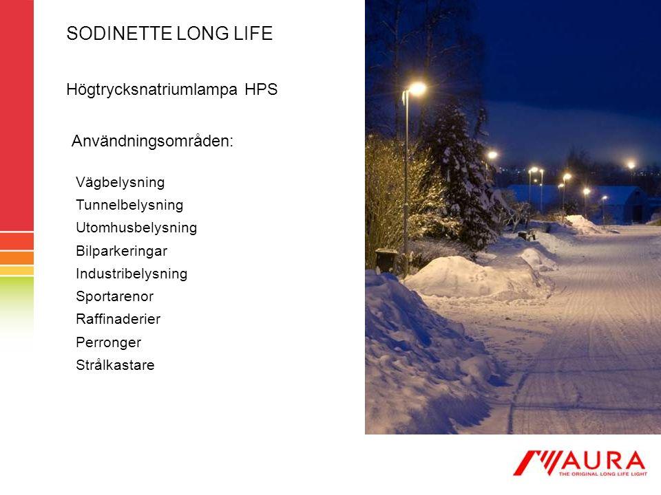 SODINETTE LONG LIFE Högtrycksnatriumlampa HPS Användningsområden: