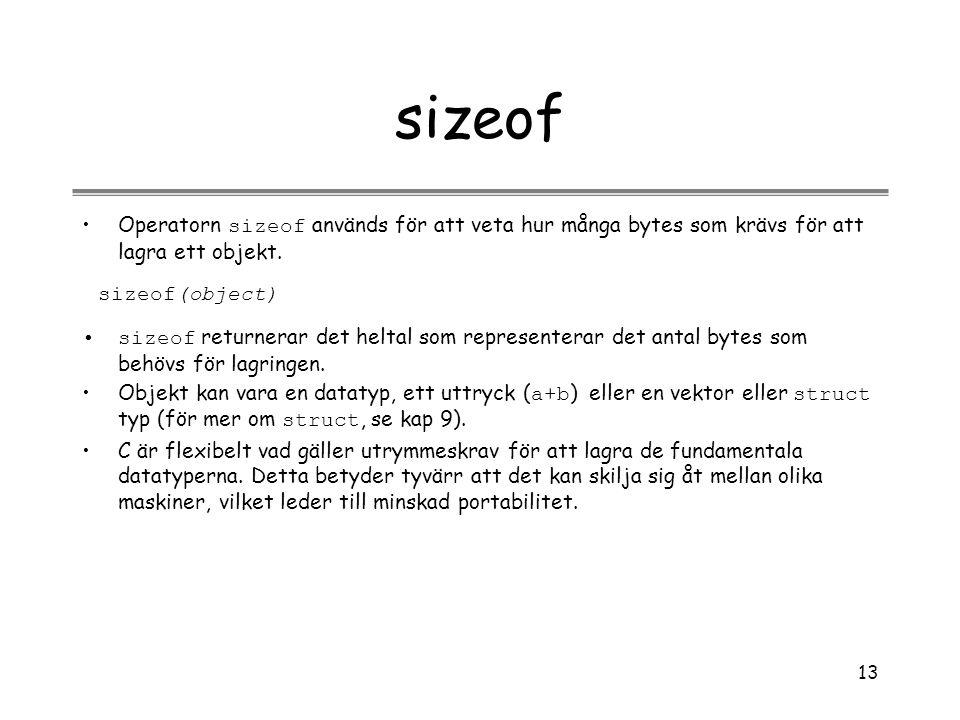 sizeof Operatorn sizeof används för att veta hur många bytes som krävs för att lagra ett objekt. sizeof(object)