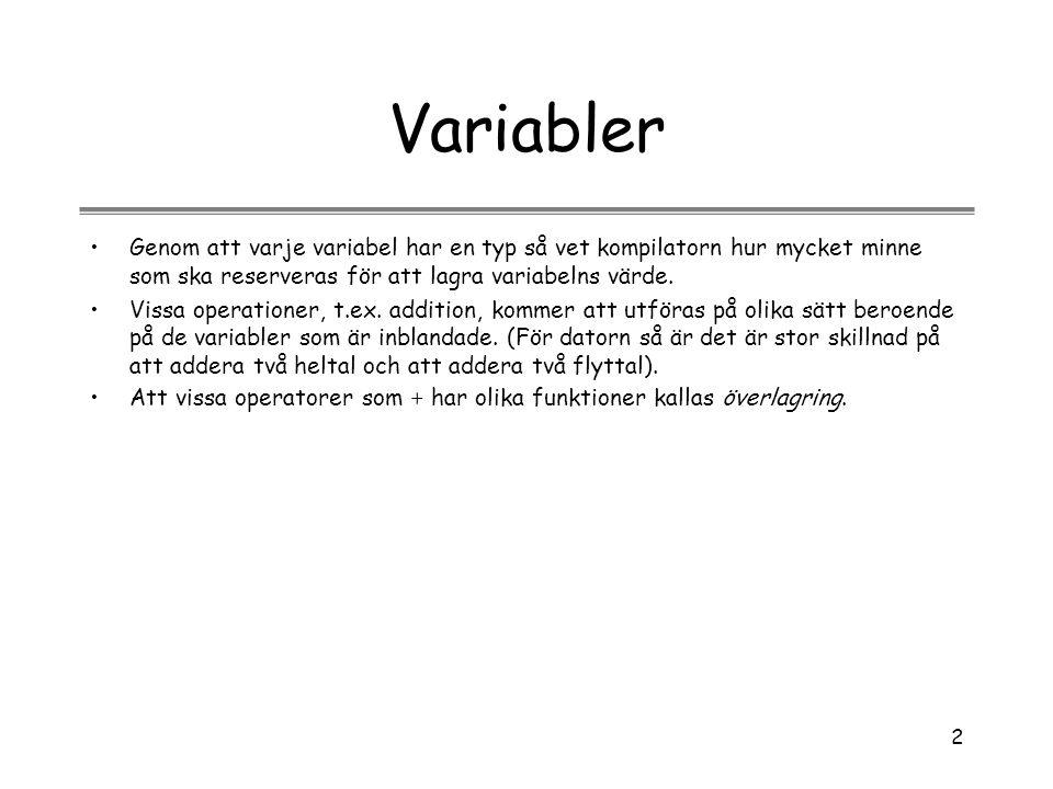Variabler Genom att varje variabel har en typ så vet kompilatorn hur mycket minne som ska reserveras för att lagra variabelns värde.