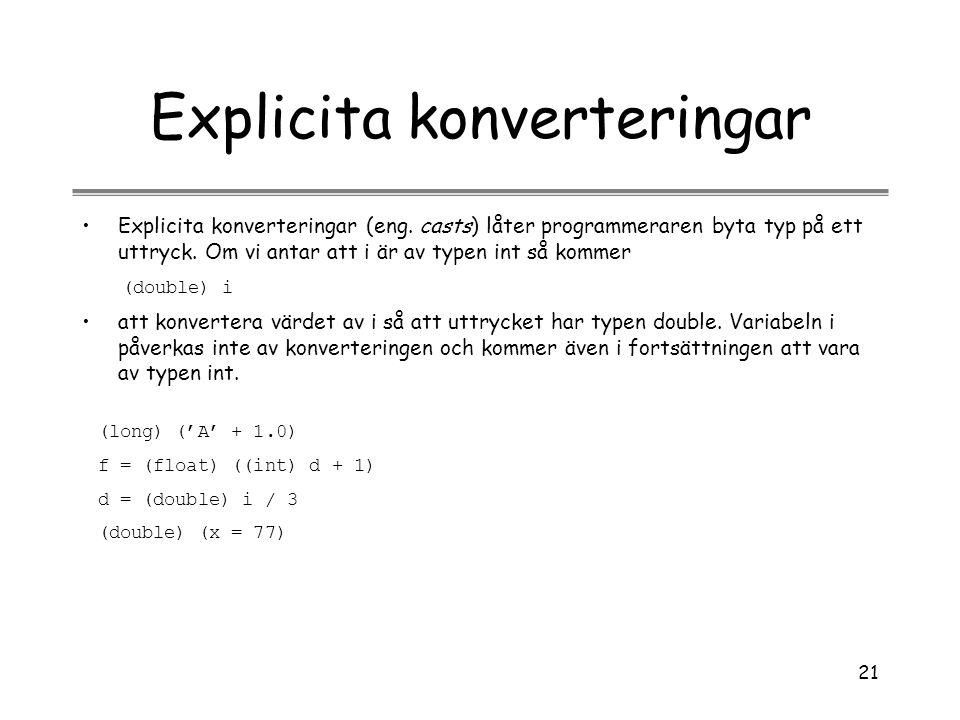 Explicita konverteringar