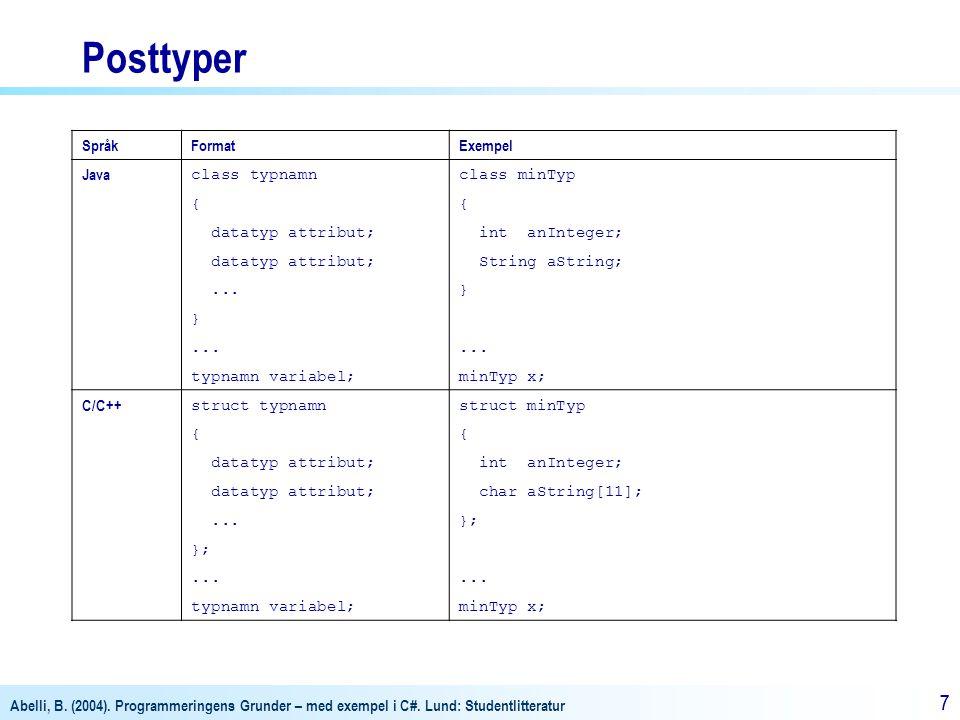 Posttyper Språk Format Exempel Java class typnamn class minTyp {