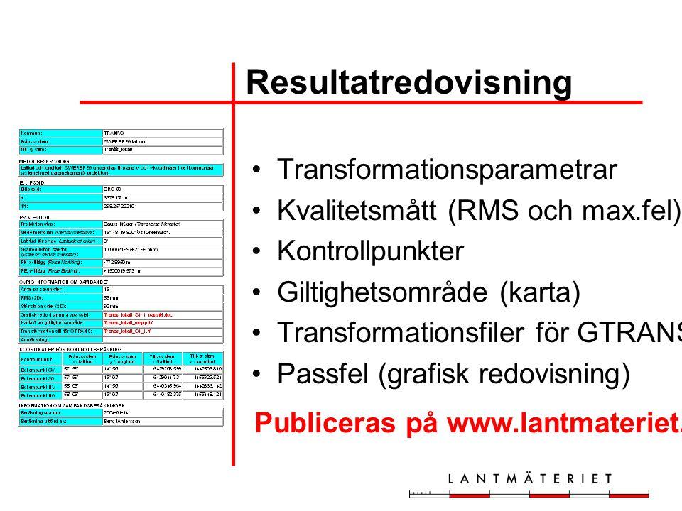 Resultatredovisning Transformationsparametrar