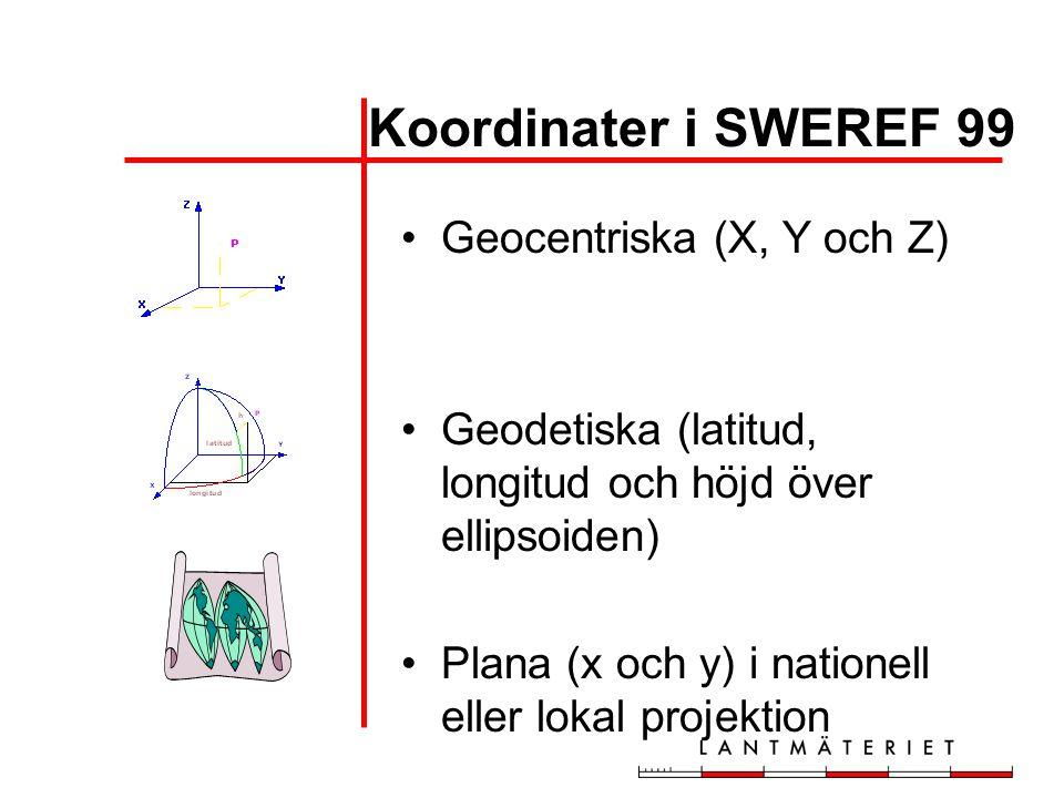 Koordinater i SWEREF 99 Geocentriska (X, Y och Z)