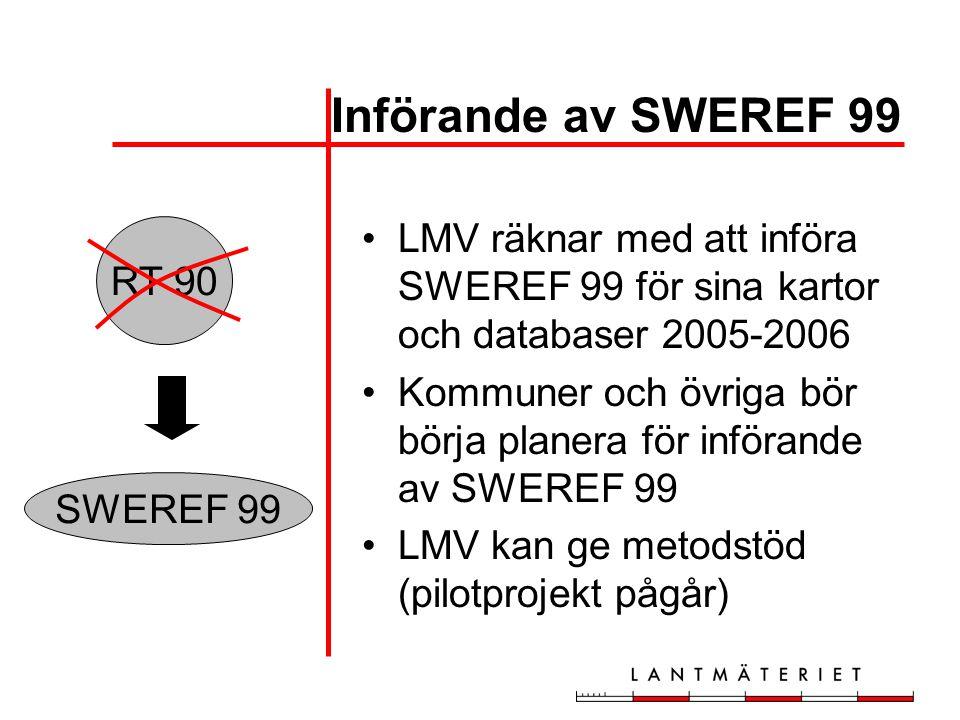Införande av SWEREF 99 LMV räknar med att införa SWEREF 99 för sina kartor och databaser 2005-2006.