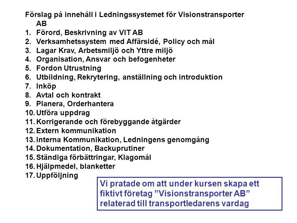 Förslag på innehåll i Ledningssystemet för Visionstransporter AB