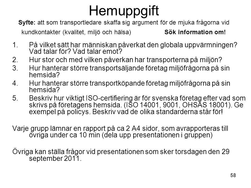Hemuppgift Syfte: att som transportledare skaffa sig argument för de mjuka frågorna vid kundkontakter (kvalitet, miljö och hälsa) Sök information om!
