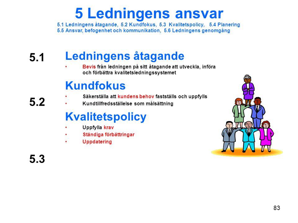 5 Ledningens ansvar Ledningens åtagande 5.1 Kundfokus Kvalitetspolicy
