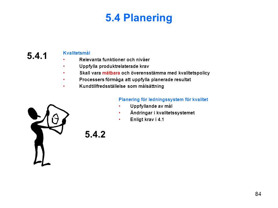 5.4 Planering 5.4.1 5.4.2 Kvalitetsmål Relevanta funktioner och nivåer