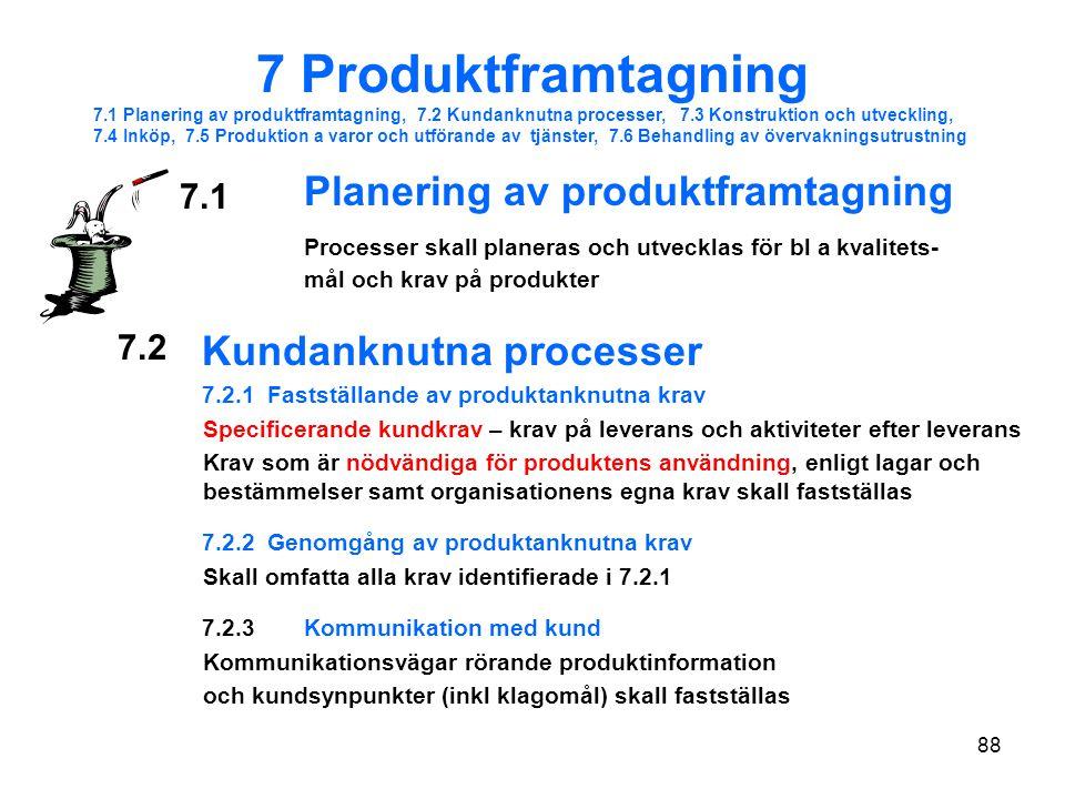 7 Produktframtagning Kundanknutna processer 7.1 7.2