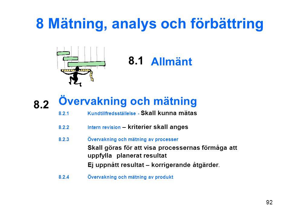 8 Mätning, analys och förbättring