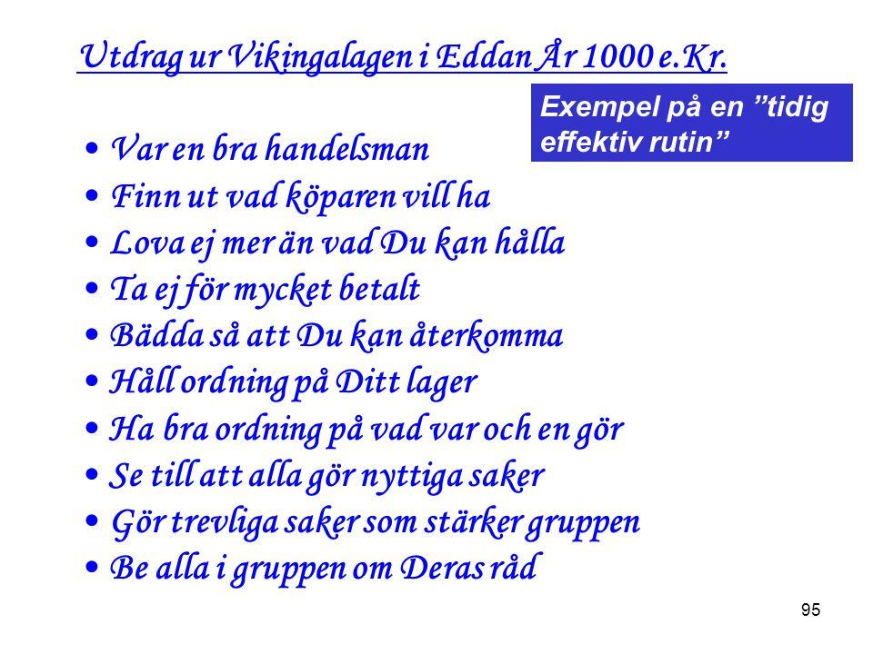 Utdrag ur Vikingalagen i Eddan År 1000 e.Kr. Var en bra handelsman