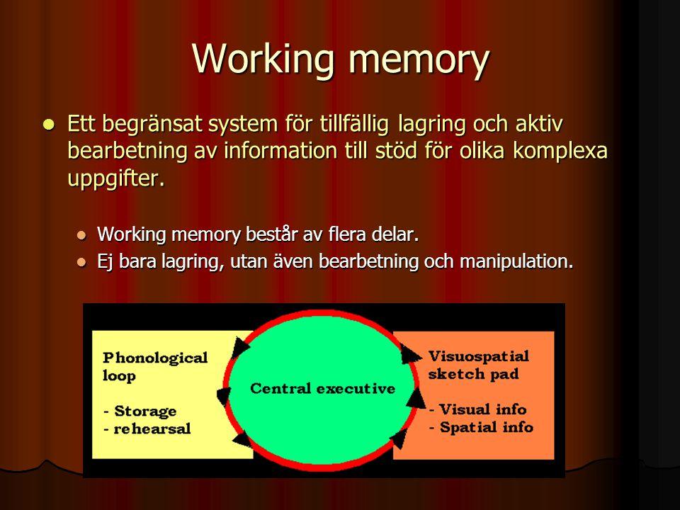 Working memory Ett begränsat system för tillfällig lagring och aktiv bearbetning av information till stöd för olika komplexa uppgifter.