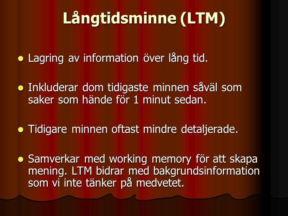 Långtidsminne (LTM) Lagring av information över lång tid.