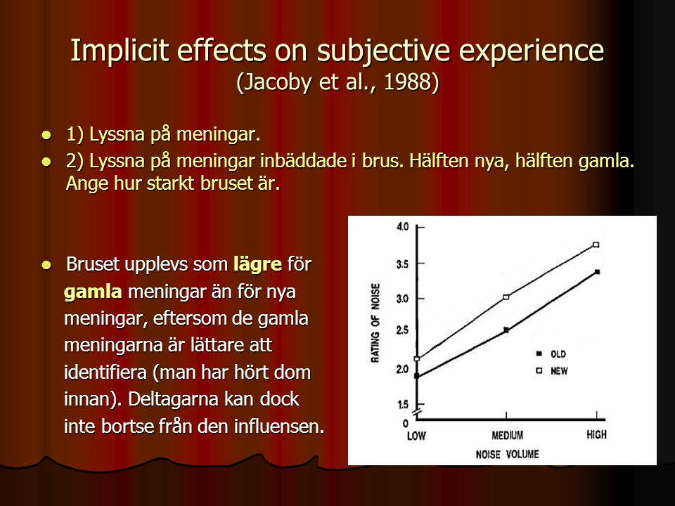 Implicit effects on subjective experience (Jacoby et al., 1988)