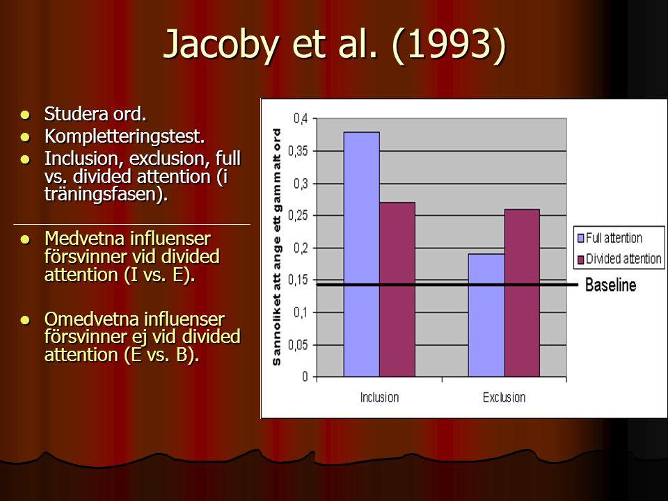 Jacoby et al. (1993) Studera ord. Kompletteringstest.