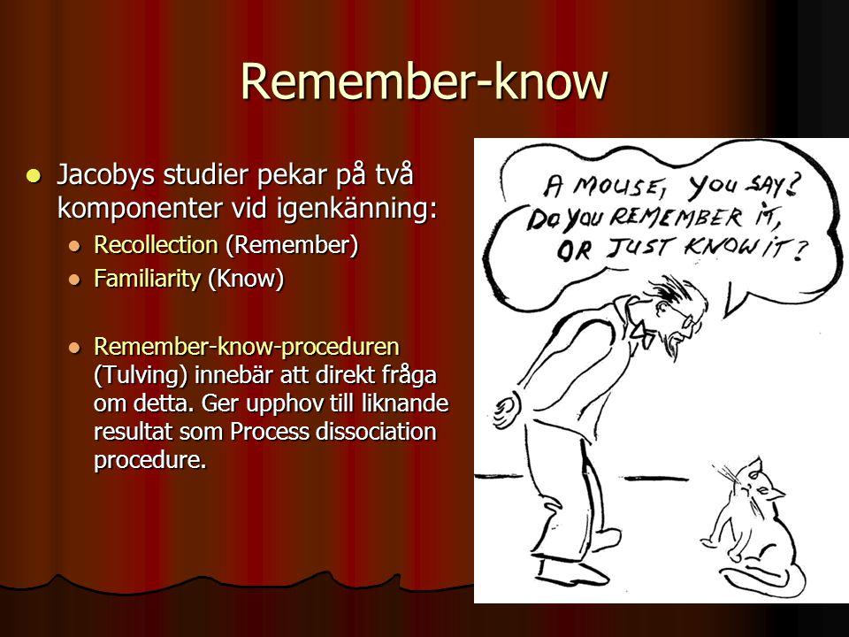 Remember-know Jacobys studier pekar på två komponenter vid igenkänning: Recollection (Remember) Familiarity (Know)