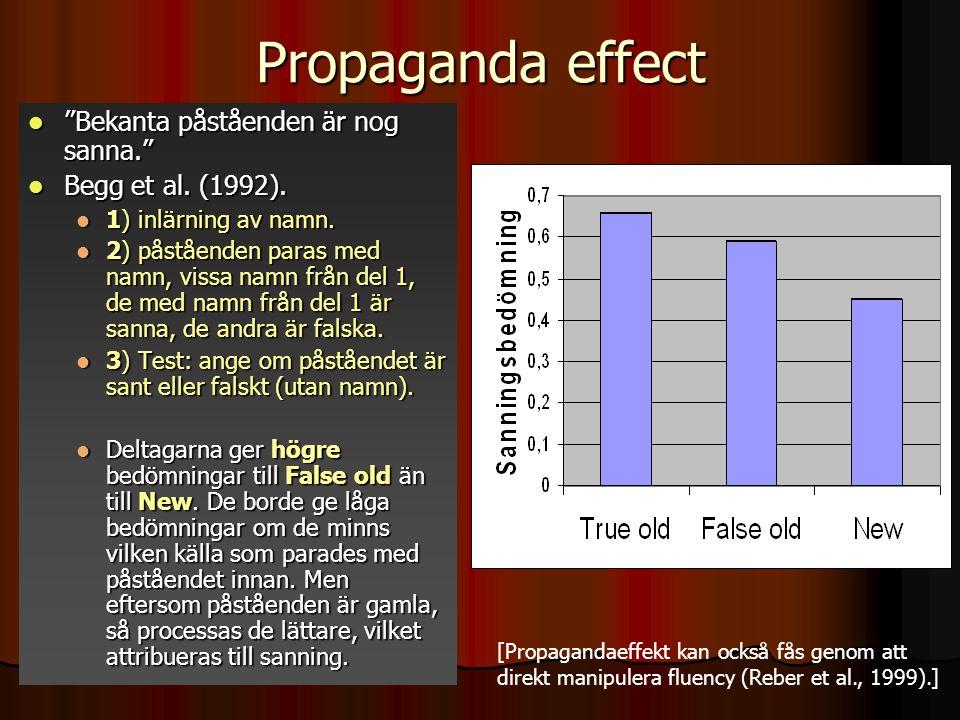 Propaganda effect Bekanta påståenden är nog sanna.