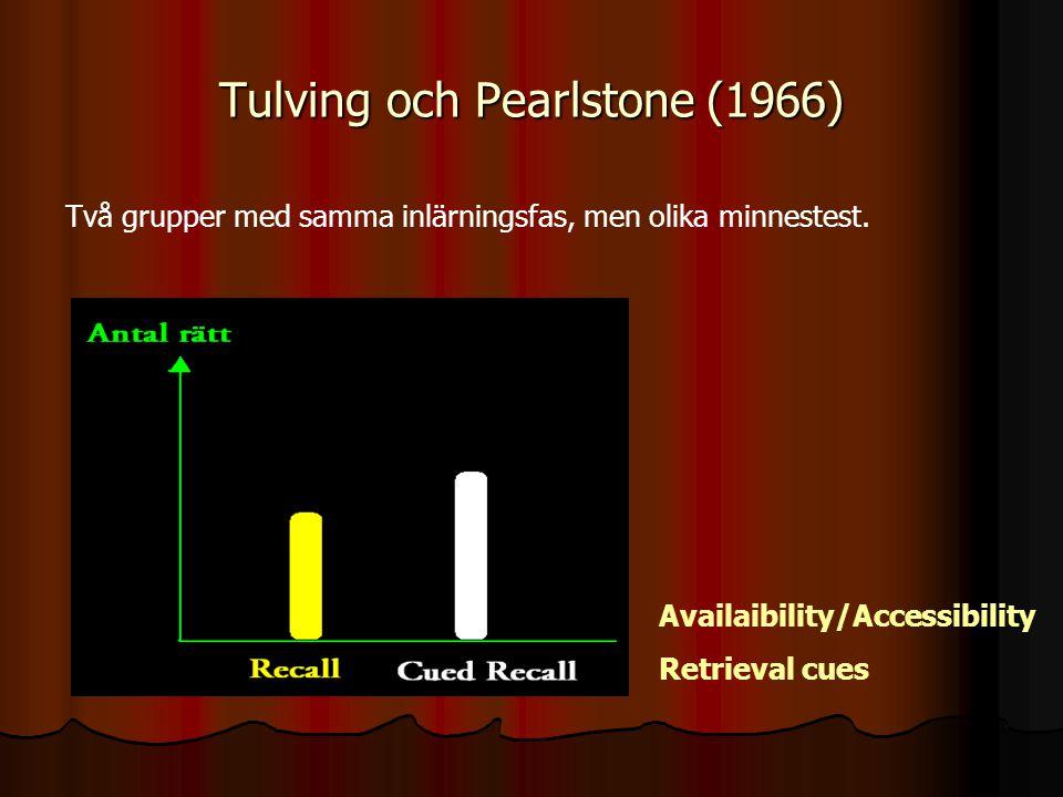 Tulving och Pearlstone (1966)