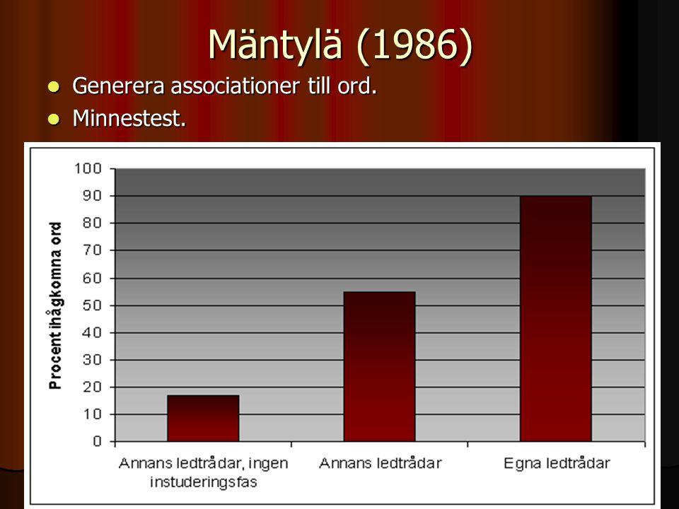 Mäntylä (1986) Generera associationer till ord. Minnestest.