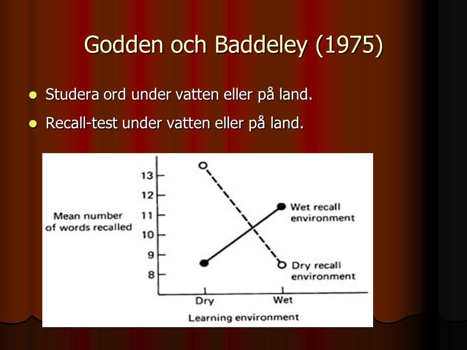 Godden och Baddeley (1975) Studera ord under vatten eller på land.