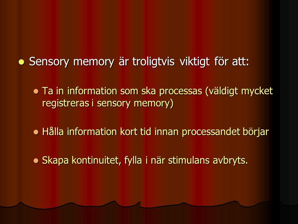 Sensory memory är troligtvis viktigt för att:
