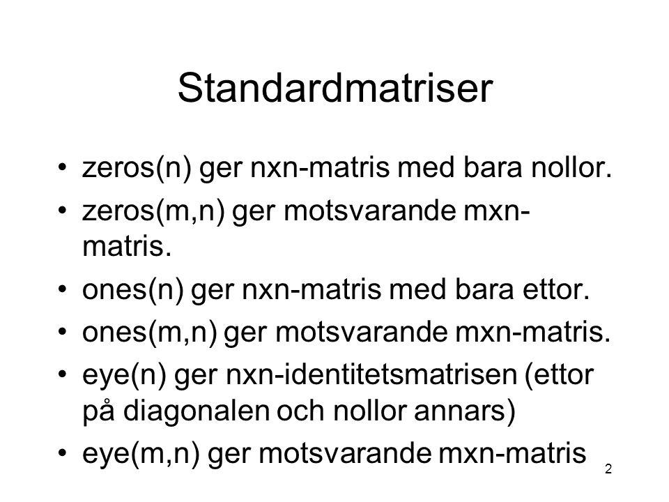 Standardmatriser zeros(n) ger nxn-matris med bara nollor.