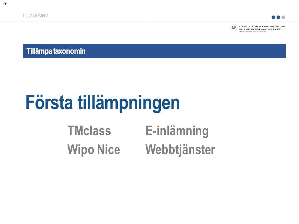 Första tillämpningen TMclass E-inlämning Wipo Nice Webbtjänster