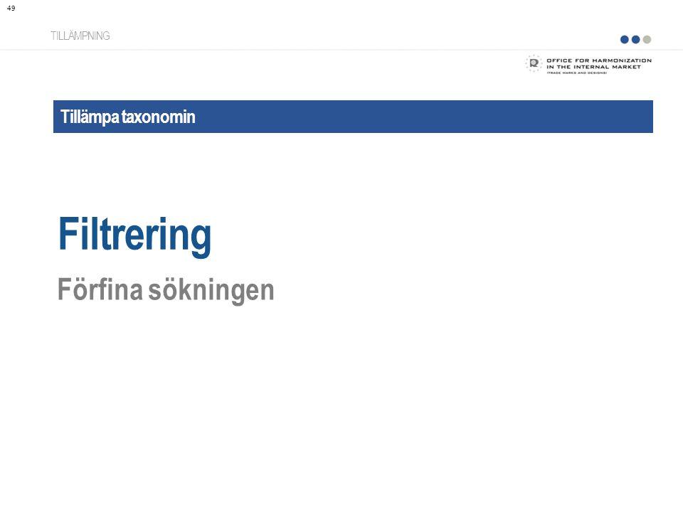 Filtrering Förfina sökningen Tillämpa taxonomin TILLÄMPNING