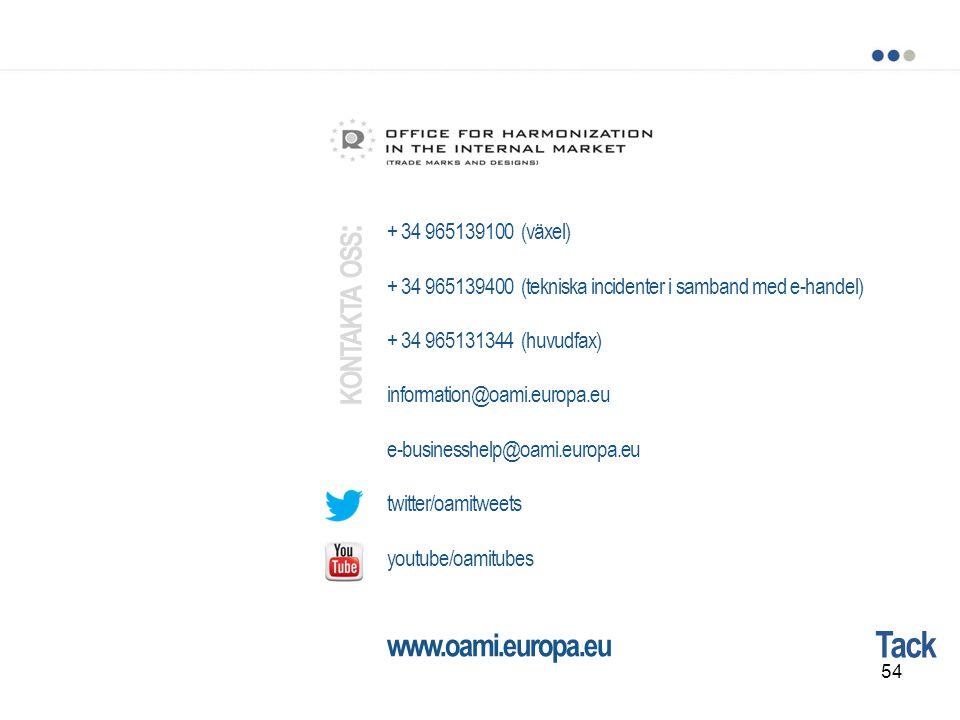 kontakta oss: Tack www.oami.europa.eu