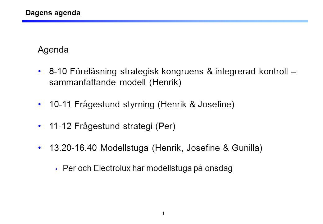 Agenda föreläsning 7 Att knyta samman områdena strategi, ekonomistyrning och produktionsstyrning - en kort sammanfattning av centrala aspekter.