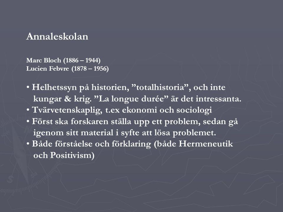 Annaleskolan Helhetssyn på historien, totalhistoria , och inte