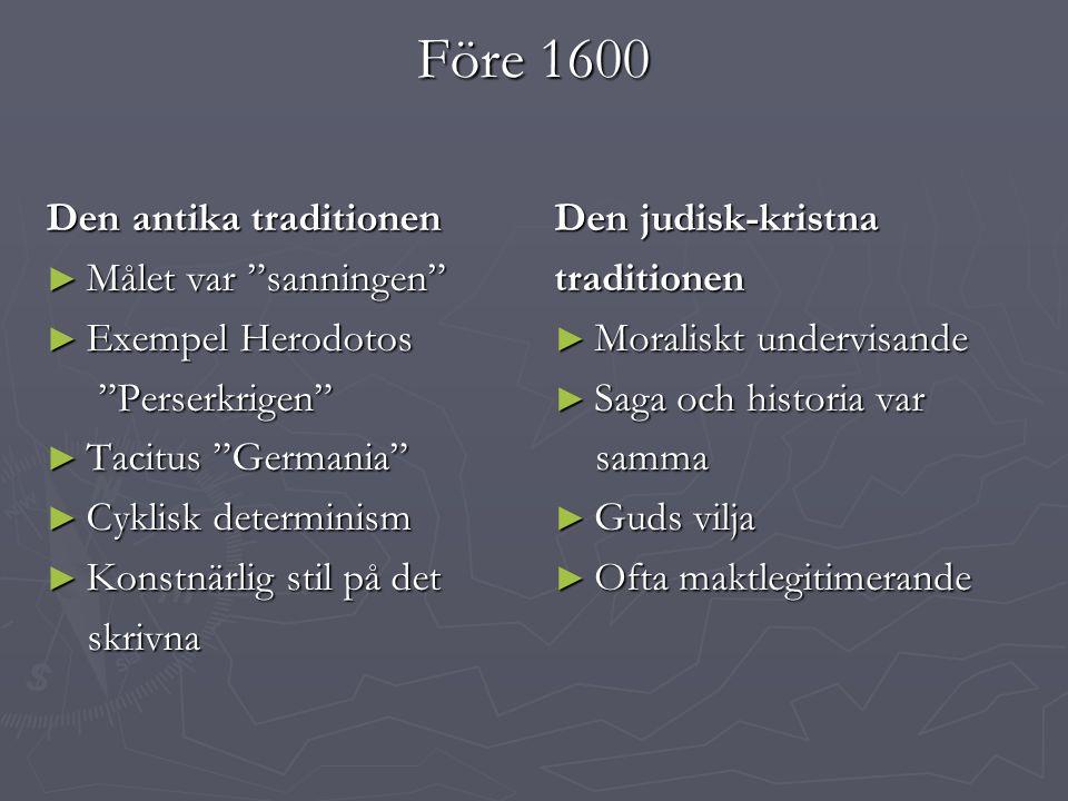 Före 1600 Den antika traditionen Målet var sanningen