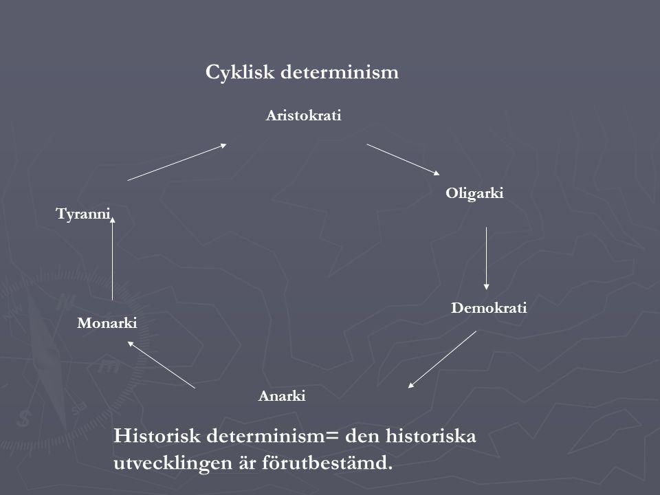 Historisk determinism= den historiska utvecklingen är förutbestämd.