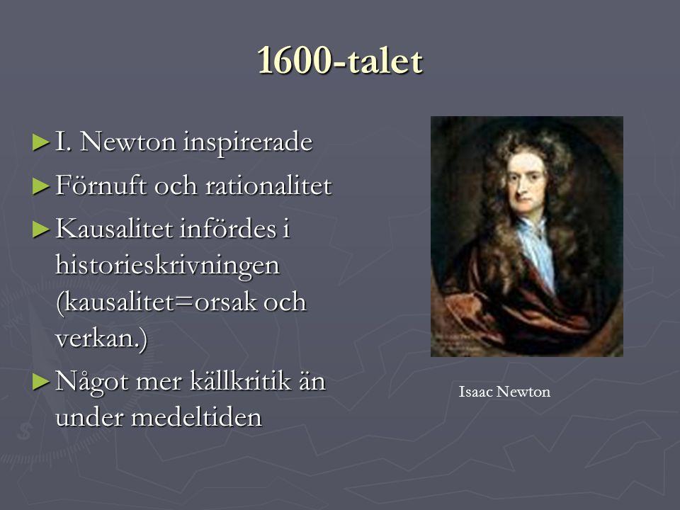 1600-talet I. Newton inspirerade Förnuft och rationalitet