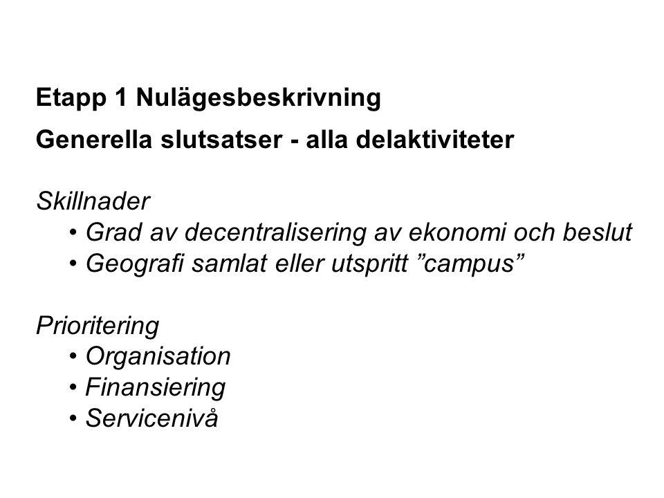 Etapp 1 Nulägesbeskrivning Generella slutsatser - alla delaktiviteter