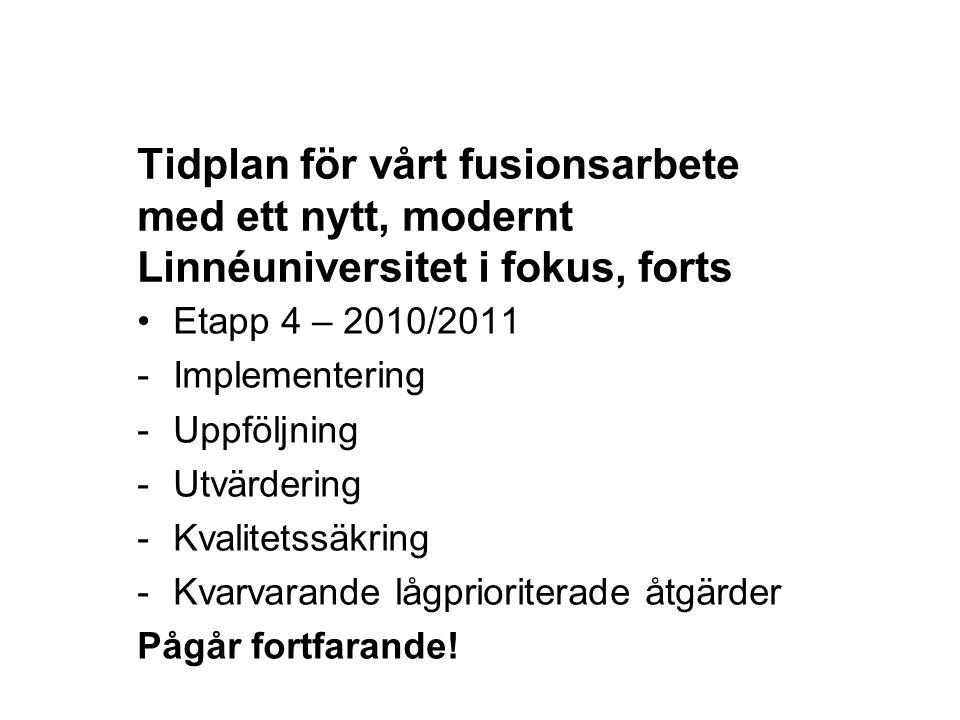 12-05-23 Tidplan för vårt fusionsarbete med ett nytt, modernt Linnéuniversitet i fokus, forts. Etapp 4 – 2010/2011.