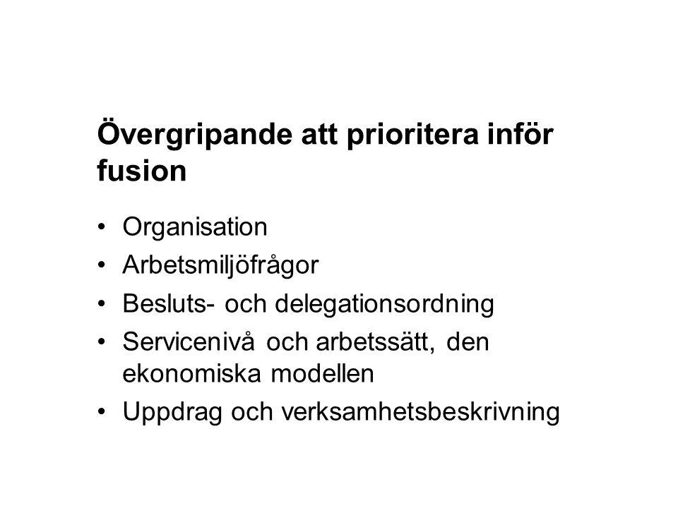 Övergripande att prioritera inför fusion