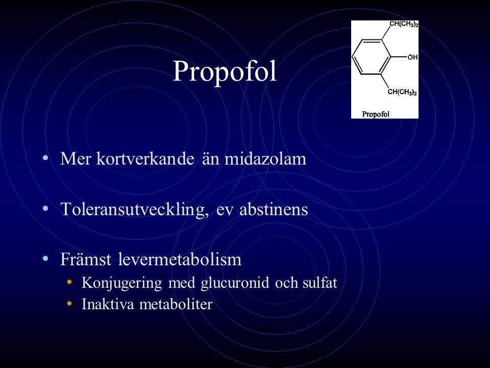 Propofol Mer kortverkande än midazolam