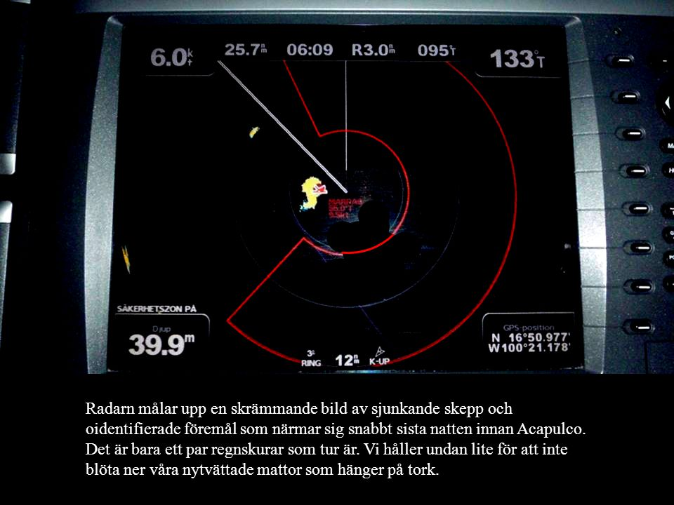 650 Nm till Acapulco. Det är bara att hissa segel och sätta kurs österut. Idag har vi en fripassagerare i masttoppen. En sula.