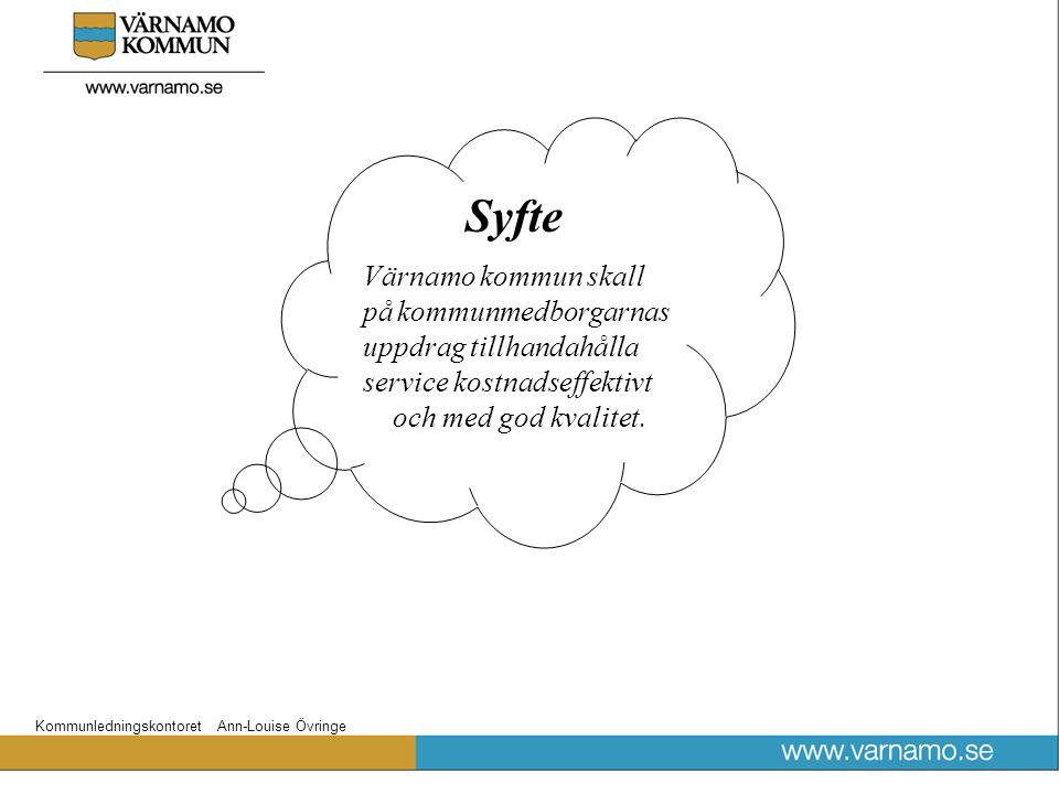 Syfte Värnamo kommun skall på kommunmedborgarnas. uppdrag tillhandahålla. service kostnadseffektivt.
