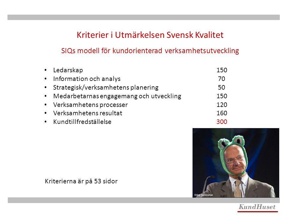 Kriterier i Utmärkelsen Svensk Kvalitet